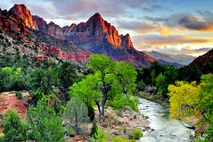 Zion National Park Sunset - Watchman (NikonKnight) Tags: park sunset nationalpark october national zion zionnp virginriver watchman diagonally thankstowifeforhelp thankstoyouforvisitandcomments lee03ndfilter bridgeonhwy9