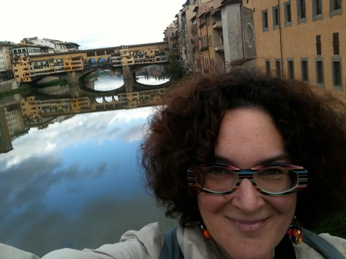 NK, with Ponte Vecchio in background
