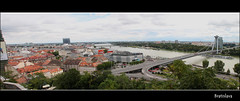 Beautiful Bratislava (Franc.c) Tags: city bridge water architecture europe cityscape landmarks slovakia newbridge bratislava danube easterneurope bratislavacastle novmost canon500d bratislavskhrad ufocafe tamron18270mm