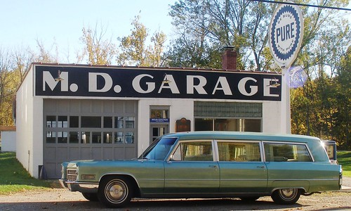 hearse at the M.D. Garage