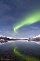 Aurora reflections (antonyspencer) Tags: snow mountains norway reflections circle landscape lights calm arctic aurora northern borealis tromso troms