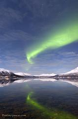 Aurora reflections (antonyspencer) Tags: snow mountains norway reflections circle landscape lights calm arctic aurora northern borealis tromso tromsø