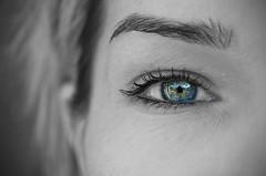 Behind Blue Eyes (rebelbutterfly) Tags: blue portrait people blackandwhite bw eye nikon dof gente blu tamron 90 ritratto occhio biancoenero pdc behindblueeyes d90 rebelbutterfly