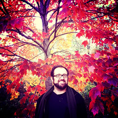 "52 Weeks of ""The One You Love"" (50): He Brings Color To My World... (Sion+Anton) Tags: portrait smiling squareformat camerabag centralparknyc 500x500 format126 iphone4 iphoneography antonkawasaki brilliantredandyellowcolorsoffall autumnleavesinthetrees handsomegaybeardedmalewithglasses"