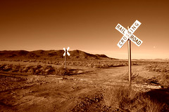 Railroad Crossing (Copper) (sandy.redding) Tags: california monochrome landscape desert copper theeye optikverve explored nikkor1855mmf3556g flickrsbest kerncountyphotographers youvegottheeye
