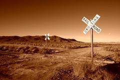 Railroad Crossing (Copper) (sandy.redding) Tags: california monochrome landscape desert copper theeye optikverve explored nikkor1855mmf3556g flickrsbest kerncountyphotographers youvegottheeye