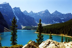 Moraine Lake Canada (swisscan) Tags: park blue sky mountain lake canada tree water analog forest national soe peopleschoice naturesfinest abigfave platinumphoto superbmasterpiece superhearts theunforgettablepictures thegoldenmermaid