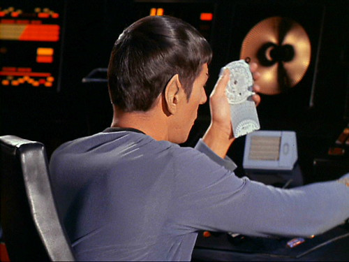 Spock with E6B (Jeppesen brand CSG-1P Slide Graphic Flight Computer) (The Naked Time)