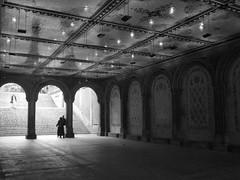 Arches (Nicole Marti) Tags: park nyc newyorkcity light summer blackandwhite bw reflection stairs couple terrace centralpark august bethesda bethesdafountain cityskipgroup artinbw