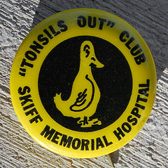 """Tonsils Out"" Club Pin, 1978"