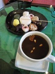 Heavenly dessert and thick tea