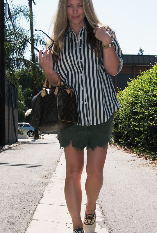 striped button down+DIY cargo skirt+TOMS shoes+Louis Vuitton speedy -8