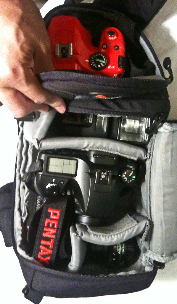 How much Pentax can you fit in a LowePro Slingshot 100?