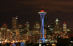 Sleepless In Seattle (donpar) Tags: seattle city blue red white skyline night washington cityscape pacific northwest pacificnorthwest spaceneedle seattlecenter onlythebestare alemdagqualityonlyclub