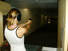 Gunfight in Miami (StephenJR) Tags: woman hot girl gun miami target shooting csi gunrange colt45 top20femmes