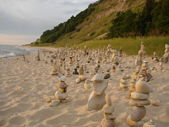 Greet the Golden Hour (farlane) Tags: sculpture art beach rock found sand gallery michigan lakemichigan twelve frankfort benzie frankfortrockgallery