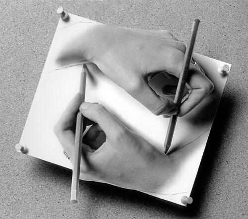 Hommage to Escher's Drawing Hands (1989)