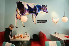 (sandra juto) Tags: red lamp breakfast table cow bacon chair tea juice turquoise egg couch bagel syrup pancake hen eggmilk