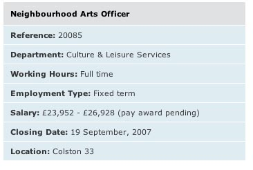 Neighbouhood Arts Officer