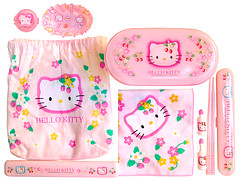 Hello Kitty Strawberry Bento Set 2001 (pkoceres) Tags: cup japan glitter lunch bottle strawberry hellokitty napkin case sanrio chopstick mayo bento soy utensil divider    kinchaku     boughtonebay  tengui  hellokittystrawberry