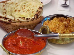three indian food must-haves (Satya W) Tags: food chicken cheese rice indian pim naan masala tikka 2007 biryani sogo murgh kinara 200709