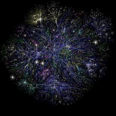 Jan 2005 Map of the Internet by matthewjetthall (Visualization of the various routes through a portion of the Internet)