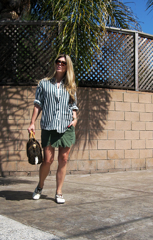 striped button down+DIY cargo skirt+TOMS shoes+Louis Vuitton speedy -1, do it yourself fashion, tom ford sunglasses, blond hair, hair tutorials, fashion, home decor