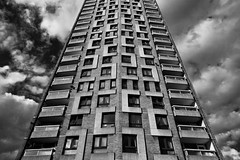 Sivill House (Gary Kinsman) Tags: bw london tower architecture clouds blackwhite estate c modernism social highrise council housing canon5d block modernist bethnalgreen columbiaroad e2 haggerston canon1740mmf4l sivillhouse