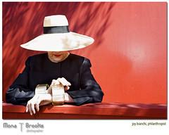 Miss Bianchi (SFMONA) Tags: sanfrancisco red portrait hands bravo vivid style negativespace hiding anonymous classy ghiradellisquare peopleschoice socialite bighat abigfave artlibre superaplus aplusphoto superbmasterpiece goldenphotographer diamondclassphotographer flickrdiamond superhearts joybianchi adoublefave vividmasters excapture world100f