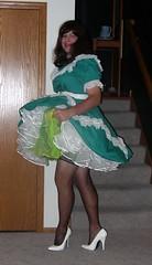 Green and White Square Dance outfit 2 (Deedee Fullskirt) Tags: lingerie sissy heels slip crossdresser petticoat