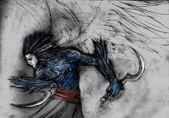 Hombre pajaro (Jugo de Naranjo) Tags: angel wings drawing warrior knives dibujo guerrero alado corvos