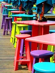 Ocean Pier, Key West (Natasja ) Tags: blue red usa sun west colors yellow catchycolors island pier chair key paradise purple angle florida perspective keywest canong3 conchrepublic oceanpier thekeys colourartaward ishkolorkraft damncool