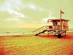 Lifeguard Tower (Dimpleicious) Tags: ocean sunset beach sand lifeguard lifeguardtower dockweilerbeach marcisbirthdaybonfire