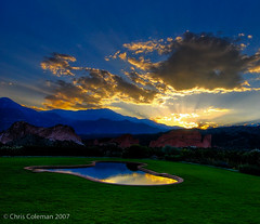 Sunset at the Garden of the Gods Club (iceman9294) Tags: reflection pool bravo colorado sundown gardenofthegods professional coloradosprings chriscoleman magicdonkey gardenofthegodsclub superaplus aplusphoto infinestyle diamondclassphotographer iceman9294 excapture world100f
