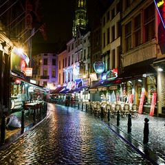 Brussels (Peter Gutierrez) Tags: photo europe europa european belgium belgian belgie belgique brussels bruxelles brussel city centre center centrum urban street streets downtown building buildings night time nighttime evening dark square format tlr twin lens reflex mamiya medium c22 peter gutierrez petergutierrez favemegroup6 25faves colourartaward artlegacy nocturne nocturnal nacht notte noche nuit sidewalk pavement public mywinners film photograph photography