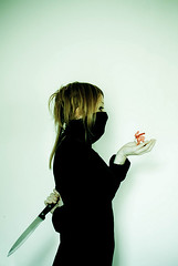 Classicrazy (  Pounkie  ) Tags: selfportrait me autoportrait ninja knife moi explore fawn bambi blade lame crazyself couteau absurde faon  pounkie damedepique petitbichon biergo dfiself selffou classicrazy damede lepetitfaonreligieux