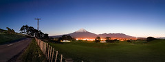 Moonlit Mt Taranaki (Mark Solly (F-StopNinja)) Tags: mounttaranaki mttaranaki mtegmont mountegmont taranaki egmont mt mount mountain silhouette sky stars farm farmland fence road dusk sunset fading luminous
