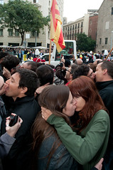 Lesbian and gay couples kiss in front of the Pope (rumpelstiltzkin) Tags: pope cathedral protest christianity catholicism benedict homosexuality nikon1755mmf28 jonotespero