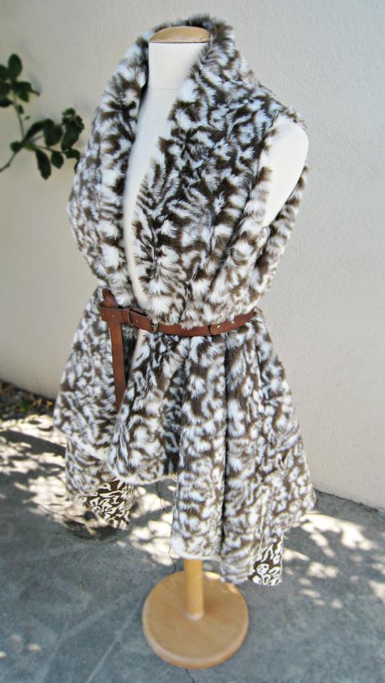 Asymmetrical Faux Fur Vest DIY - belted - side