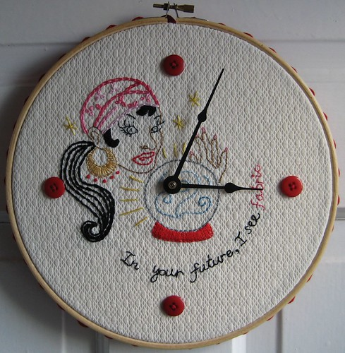 Time For Fabric Hoop by Poppyprint