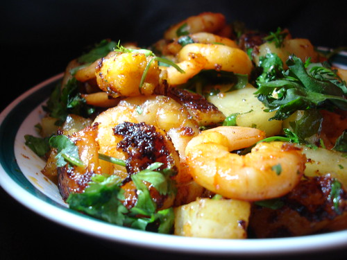 Spicy fried King Prawns