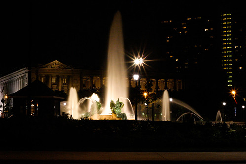 logan circle fountain @ night