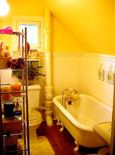 Yellow Bathroom Installion
