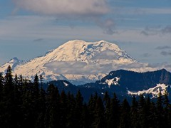 Zoom shot of Rainier and Tinkham peak