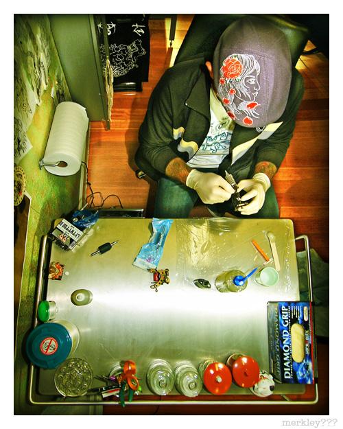 Luke Stewart - Preparing Tattoo Stuff at Seventh Son Tattoo in SF
