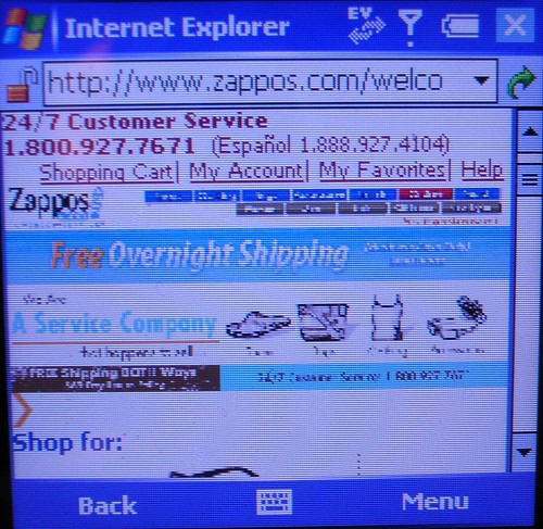 Zappos Homepage in Google Mobile