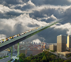stairway to heaven (catt231) Tags: city bridge people face collage clouds stairs photoshop fun heaven edited manipulation off stairway editing modification challenge edit psfo photoshopfaceoff