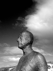 iron man at crosby - merseyside - england (~ paddypix ~) Tags: sea sky blackandwhite clouds photoshop shoreline picasa objects fragments moodyblues ukandireland iusedpicasa