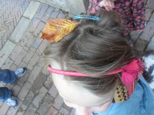 Leaf in her hair