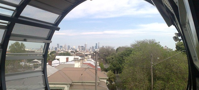 Footscray station bridge: View of the City
